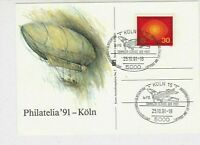 Germany 1991 Koln Plane Slogan Cancels Zeppelin Philatelic Pic Stamp Card  29214