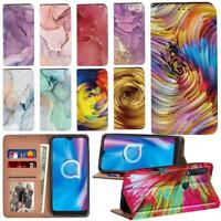 Watercolor Smart Stand Phone Card Cover For Alcatel 1C / 1S/ 1V/ 3L (2020) Phone