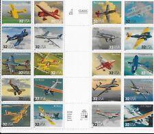 US #3142 32¢ Classic Aircraft cross gutter block of 20, MNH