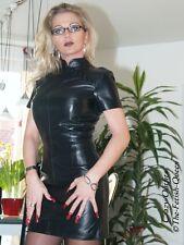 Lederkleid Leder Kleid Schwarz Mini Asia US 18 XL 48
