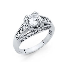 Solitaire Cz Engagement Wedding Ring Band Real 14k White Gold Prong Set Round