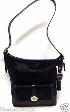 COACH Black Haircalf Legacy Duffel Bag Purse Shoulder Authentic Large 21158 NWT