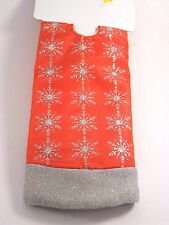 20 IN RED & Silver Snowflake lined MINI TABLE TREE SKIRT CHRISTMAS DECORATION