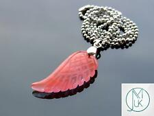 Cherry Quartz Manmade Gemstone Angel Wing Pendant Necklace Chakra Healing Stone