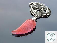 Cherry Quartz Manmade Gemstone Angel Wing Pendant Necklace Chakra Healing Stone