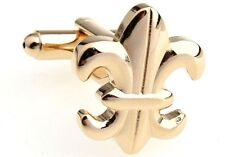 Fleur-de-lys Cufflinks Gold Wedding Fancy Gift Box Free Ship USA