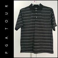 PGA Tour Men's Dri Fit Short Sleeve Stripe Golf Polo Shirt Size Medium M Black