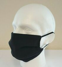 Face Mask Pleated Black (single) Reusable/Washable, Dual Layered, Made in UK!