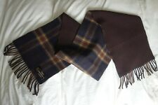 'M&S' VINTAGE MEN'S TWO SIDED LAMBSWOOL BROWN/PLAID SCARF - EXCELLENT CONDITION.