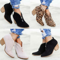 Ladies Womens Block Chunky Heels Leopard Print Zip Ankle Boots Office Shoes Size