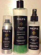 Lot of 3 PHILIP B. Hair Products ~ Shampoo/Detangling Mist & Hairspray ~ Testers