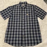 Carhartt Mens Size Medium Blue Plaid Short Sleeve Relaxed Fit Button Down Shirt