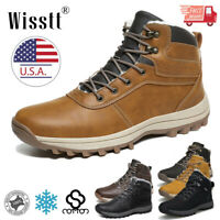 Men's Snow Boots Winter Leather Warm Work Shoes Outdoor Hiking Sports Waterproof