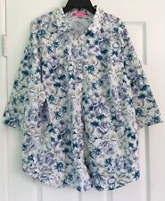 Woman Within Women's Plus Size L Blue Floral Button Down Shirt 3/4 Sleeve NWOT