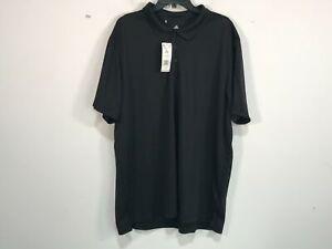 Men's Adidas Short Sleeve 1/4 Button Down Golf Polo, Size 2XL - Black/White