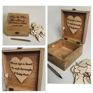 Custom Guest Book Alternative Sign a Heart Any Text & Colour Wedding Wishes Box