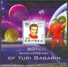 ERITREA  2015 80th BIRTHDAY YURI GAGARIN  SOUVENIR SHEET  MINT NH