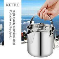 1.2L Stainless Steel Cooking Teapot Coffee Pot with Lid and Handle for Camping