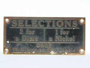 vintage J.P. SEEBURG jukebox ADVERTISING SIGN plaque SELECTIONS 2 for a DIME