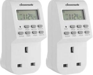 DEWENWILS Digital Lamp Timer Socket Plug Electrical Plug in Light Timer 2 Pack