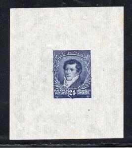 1892 ARGENTINA RARE 24c BELGRANO BLUE PROOF MINT, GREAT MARGINS, RARITY