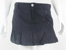 CELINE Black solid Mini EMBROIDERED Club  Party Skirt Sz M