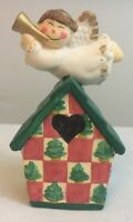 Ceramic Christmas Bell Angel On A House Holiday Bells