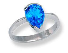 Woman's Ring 10k White Gold Pear Shape Deep Blue Topaz 10x7mm