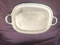 Large Reed & Barton Silver Plate - Butlers Tray Floral Border Handles 20x15""