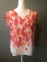 Liz Claiborne Womens Top Blouse Size PM Pink Sheer Floral With Cami Cap Sleeve