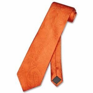 Vesuvio Napoli NeckTie BURNT ORANGE Color Paisley Design Mens Neck Tie
