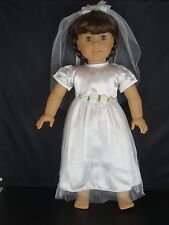 White Confirmation Dress or Wedding Gown w/Veil for 18 Inch Dolls