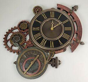 "20"" Steampunk Astrolabe Star Tracker Gear Wall Clock Statue"