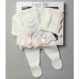 NEWBORN BABY GIRL SPANISH KNITTED OUTFIT + BONNET IVORY PRAM GIFT SET GIRLS 0-6M