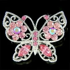 w Swarovski Crystal Pink Rose Bridal Wedding ~BUTTERFLY Flower Floral Pin Brooch
