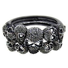 Butler and Wilson Pewter AB Crystal 10 Skull Snap Bangle Bracelet NEW