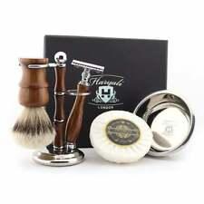 Salon SilverTip Brush, DE Safety Razor Wood, Soap & Bowl, Stand Wet Shaving Tool