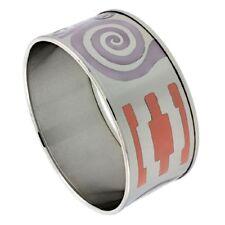 Stainless Steel Slip-On Bangle Bracelet w/ Multi Color Enameled Swirl Pattern