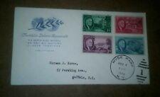 A) Franklin Roosevelt full set 4 memorial stamps Farnam cachet Hyde Park Ny