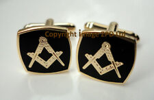 ZP365 Small Masonic Cufflinks Square Compass Freemason Black Enamel FREE UK POST