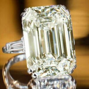 5.00+Ct Emerald Near White Moissanite Diamond & Baguette Engagement Silver Ring