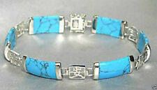 Pretty Blue Turquoise Gemstone 925 Sterling Silver Fortune Lucky Link Bracelet