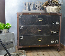 Commode Etagere Tiroirs Loft Industriel Retro Vintage Noir Marron Metal Ancien