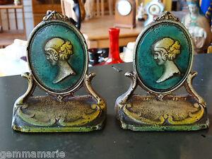 Art Nouveau Antique Cameo portrait of woman cast iron Bookends Original finish