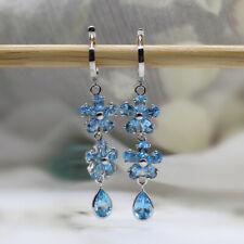 Natural Blue Topaz Dangle Drop Fine Earrings Multi Shape 925 Sterling Silver