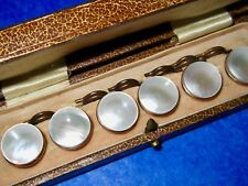 Victorian Antique RARE Set of Six Mother of Pearl Gold Gilt Buttons