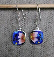 Earrings Enamel Christmas Gift Moinek New Butterfly Pink Flower Sterling Silver