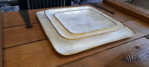 New Set Beautiful 3 x Mother Of Pearl Decorative Plates Nautical Shell Gold Trim