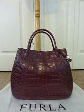 FURLA Burgundy/Wine Distressed Croco Emb Leather New Large Giselle Tote Bag $548