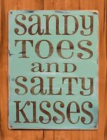 """TIN SIGN """"Sandy Toes And Salty Kisses Beach"""" Vintage Garage Vacation"""